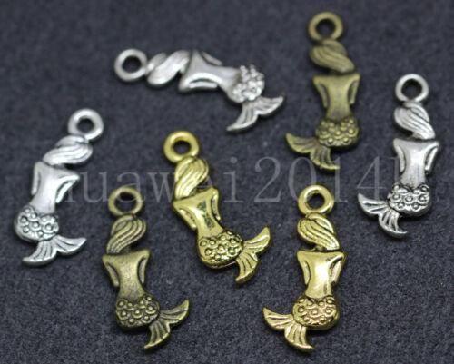 15//60//300pcs Antique Silver Beautiful Mermaid Jewelry Charms Pendant DIY 20x9mm
