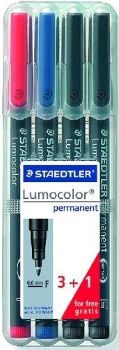 STAEDTLER® Folienstifte Lumocolor F Etui 3+1 farb 318 WP4 P NEU /& OVP sort