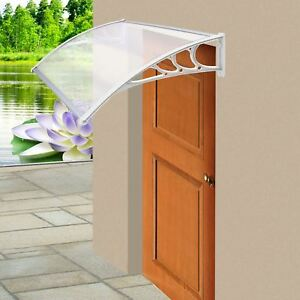 Image is loading White-Door-Canopy-Awning-Rain-Shelter-Front-Back- & White Door Canopy Awning Rain Shelter Front Back Porch Outdoor ...