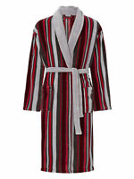 Walker Reid Mens Luxury Striped Fleece Dressing Gown