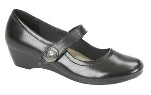 10b18b75a79 Image is loading Boulevard-L027A-Ladies-Black-Touch-Fastening-Low-Wedge-