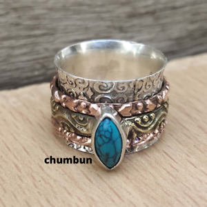 Turquoise Gemstone 925 Sterling Silver Spinner Meditation Ring Handmade Jewelery