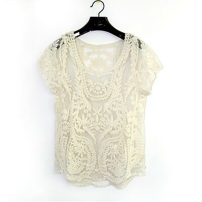 Women Fashion Sexy Lace Embroidery Floral Crochet Short Sleeve New Blouse Shirt