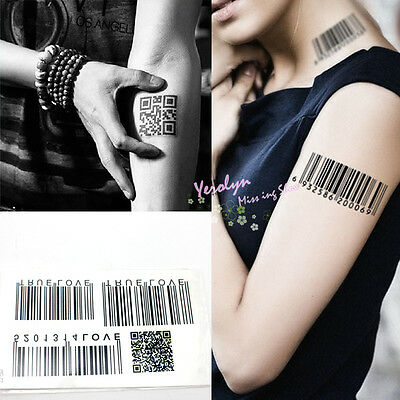 Temporary Waterproof Bar Code Stripe Totem Tattoo Sticker Removable Body Art