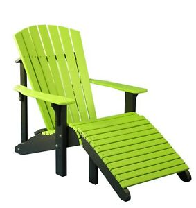 Image Is Loading Outdoor Poly Deluxe Adirondack Chair Amp Footrest MULTIPLE