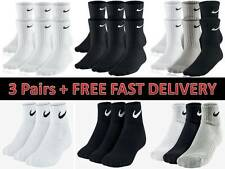 68b37b626d4b Nike Socks 3 Pairs Mens Black White Sports Crew Ankle Quarter Unisex Cotton
