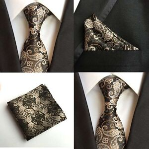 Men-Golden-Yellow-Paisley-Floral-Black-Silk-Neck-Tie-Pocket-Square-Set-Lot-HZ107