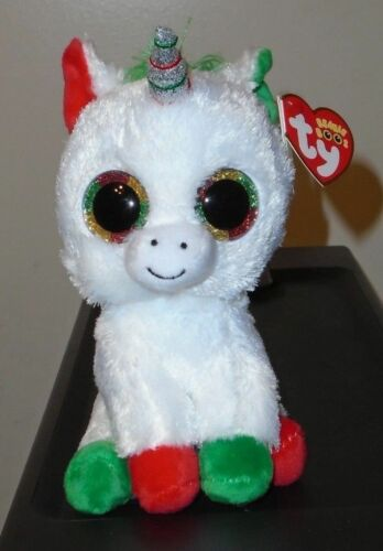 6 Inch 2018 NEW ~ IN HAND Ty Beanie Boos CANDY CANE the Christmas Unicorn