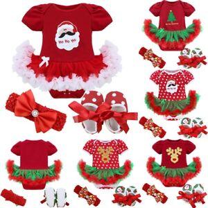Newborn Baby Girls Christmas Outfit Tutu Romper Dress Headband Crib Shoes Xmas