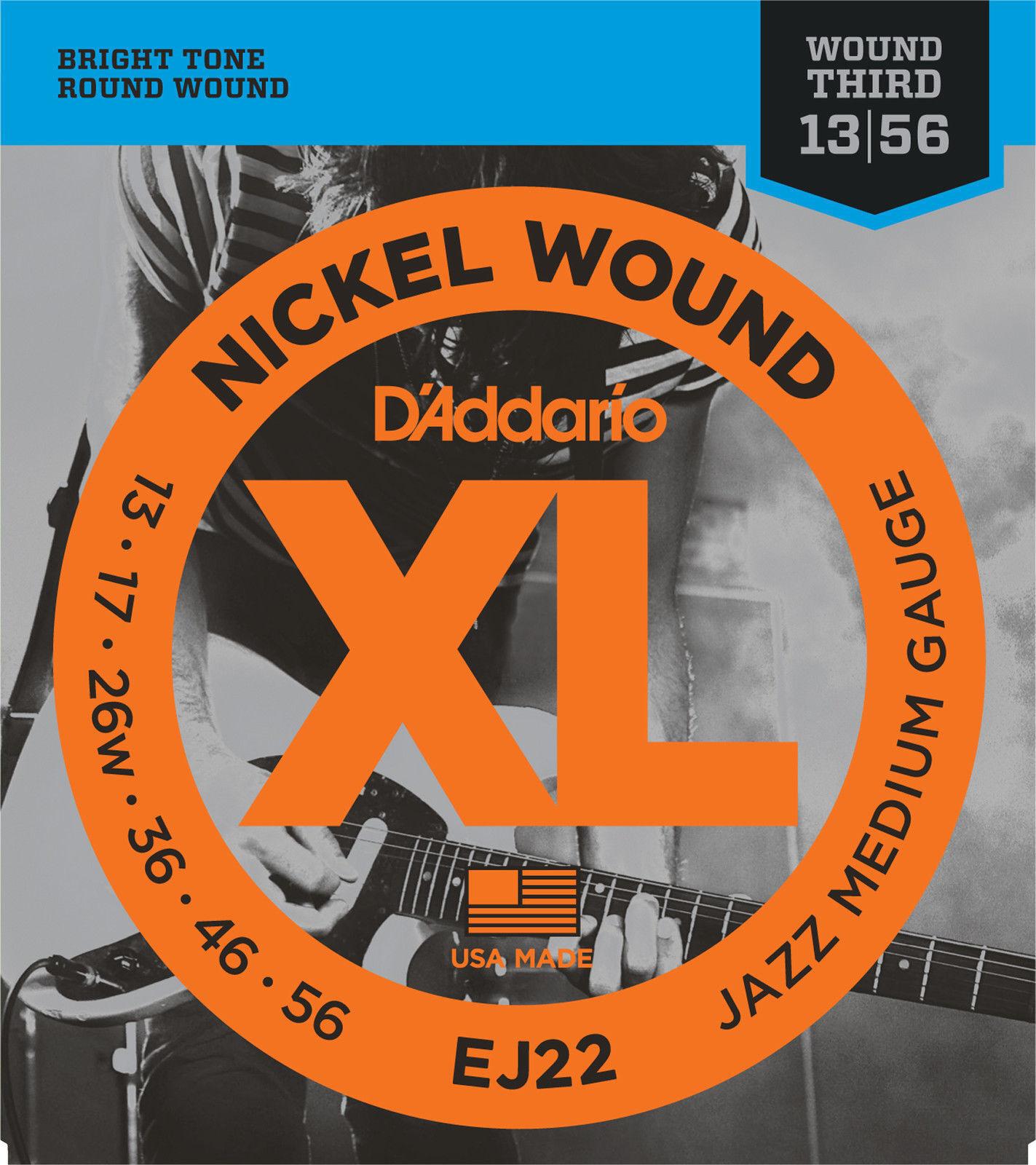 10 Juegos D 'Addario EJ22 Níquel Herida Herida Herida Jazz Guitarra Eléctrica Cuerdas 13-56 medio  ventas en línea de venta