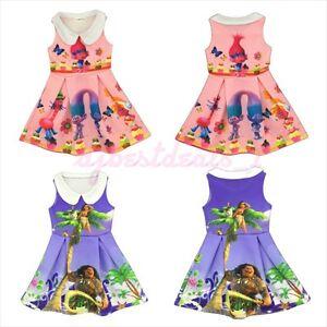 KIDS/TODDLERS MOANA OR TROLLS CUTE HAWAIIAN PRINCESS PARTY COSTUME DRESS