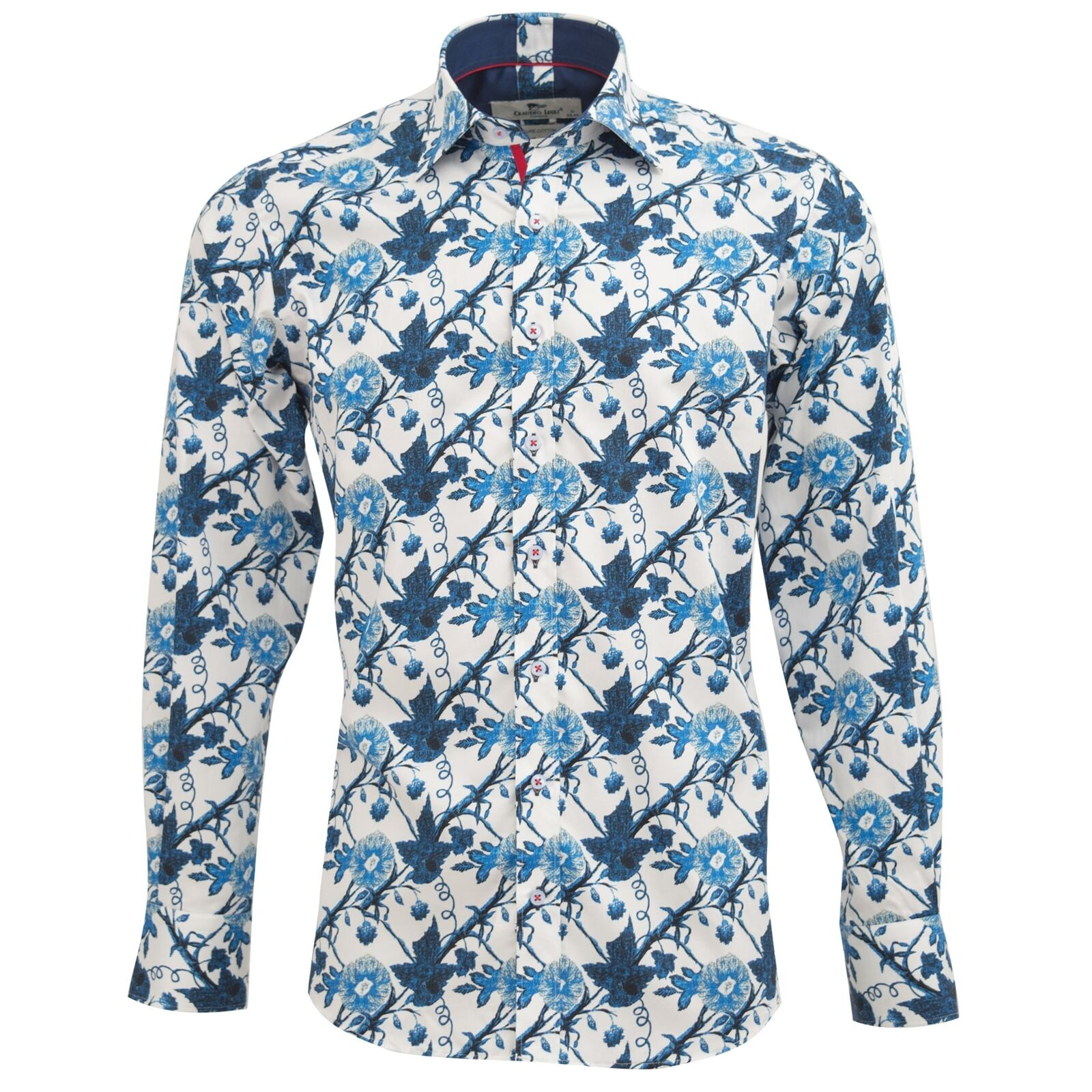 Claudio Lugli Indigo Floral Print Fashion Cotton Spring Mens Casual Shirt bluee