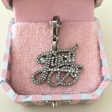 JUICY COUTURE Authentic SILVER Rare Pave SCRIPT LOGO JUICY CHARM, New in Box!!!