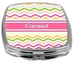 Rikki-Knight-Personalized-Name-Carmel-Compact-Mirror-Pink-Chevron-Stripes-NEW