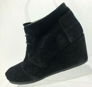 85c97a1ccc9 Toms Desert Wedge Kala Booties Black Suede Casual Comfy Ankle Boots ...