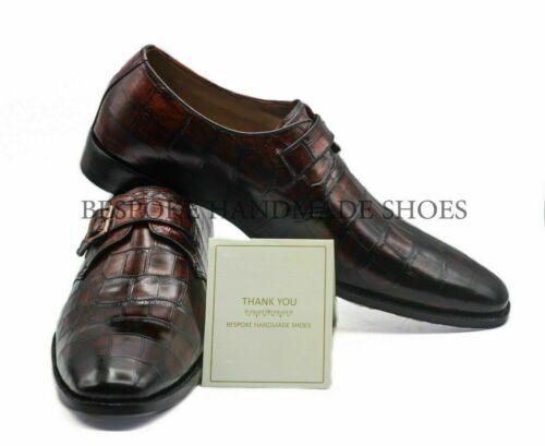 Handgemachte Herren echte Burgunder Kalbsleder Krokodildruck Schnalle Schuhe