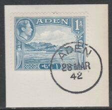 Aden 5284 - 1939 KG6 1a on piece with MADAME JOSEPH FORGED POSTMARK