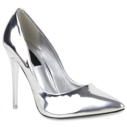 Spitze Damen Abiball Pumps High Heels Lack Stilettos 76801 Hochzeit Schuhe
