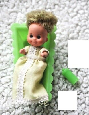 1974 Lot! Baby, Cradle & Feeding Bottle (sunshine Family Or Barbie). Good Condit