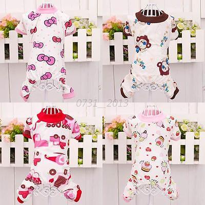 New Small Dog Puppy Pet Cartoon Patterns Cotton Pajamas Jumpsuit Clothes Hot C81