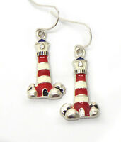 Light House Thin Lighthouse Red White Silver Lighthouse Pierced Wire Earrings
