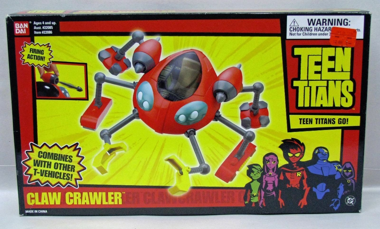 Teen Titans Animated Series Claw Crawler Vehicle BanDai NIP 4+ S115-8