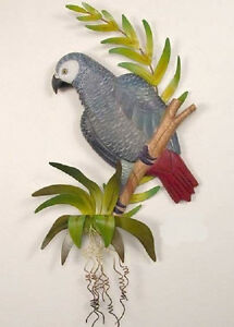 Tropical Art Designs Hand Carved Wooden Gray Parrot with Metal Wall Sculpture