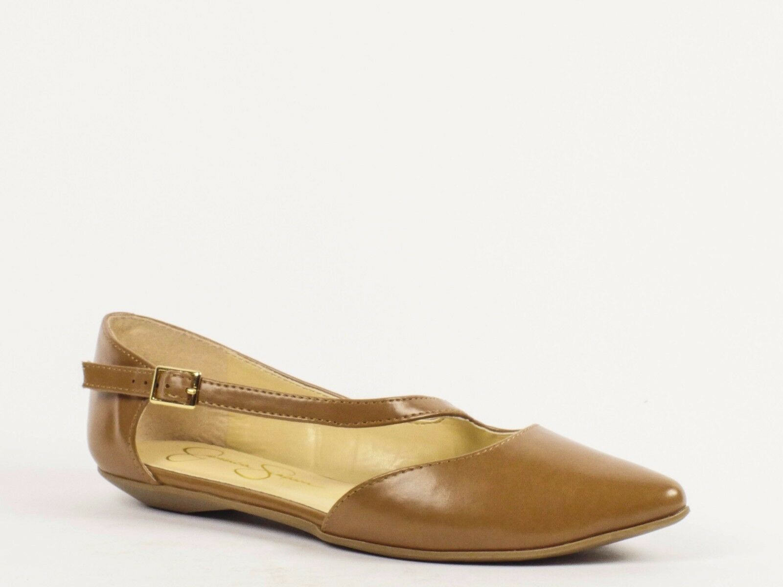 Jessica Simpson Thaye Flats Tan Leather Pointed Toe Dimensione 6.5 nuovo  79