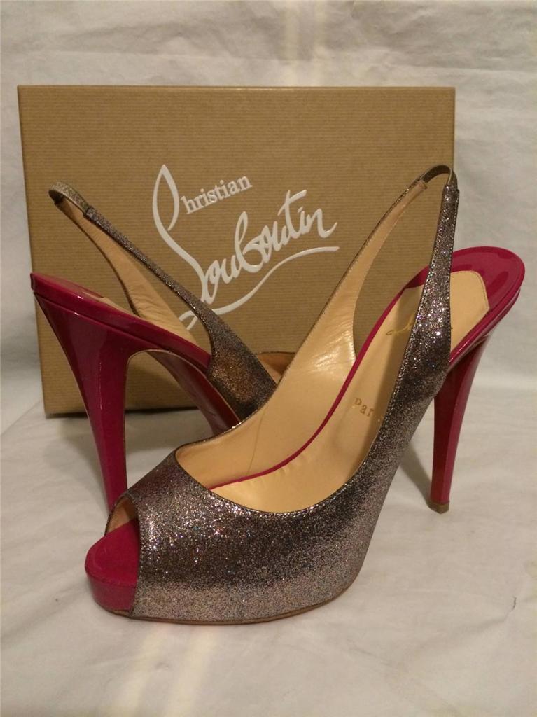 Christian Louboutin No Prive 120 120 120 Glitter Mini Slingback Sandal Heel shoes  845 83ac19