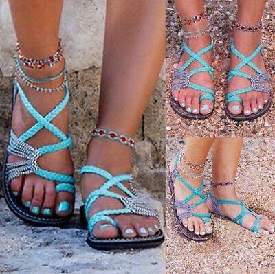 Women's Toe Ring Slingback Flat Sandals Flip Flops Bohemian Casual Beach Shoes | eBay