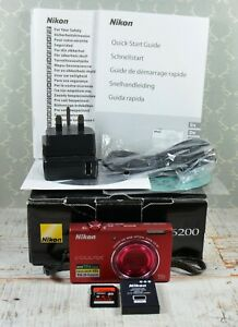 NIKON-Red-Coolpix-S6200-16MP-Wide-10x-Zoom-VR-Digital-Camera-Boxed