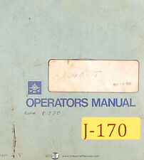 Jet 1340t Toolroom Bench Lathe Operations And Parts List Manual Year 1980