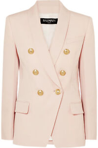 2195-Balmain-AUTH-6-Gold-Buttons-Double-Breasted-Grain-de-Poudre-Wool-Blazer-38
