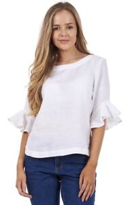 Ladies-White-Ruffle-Sleeve-Casual-Top-Plain-Short-Sleeve-Pure-Linen-Blouse