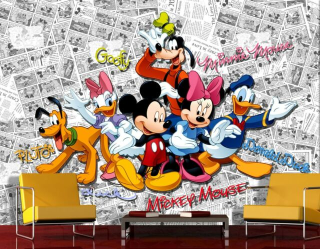 Disney wall mural wallpaper children\'s bedroom Mickey Mouse PREMIUM white  comics