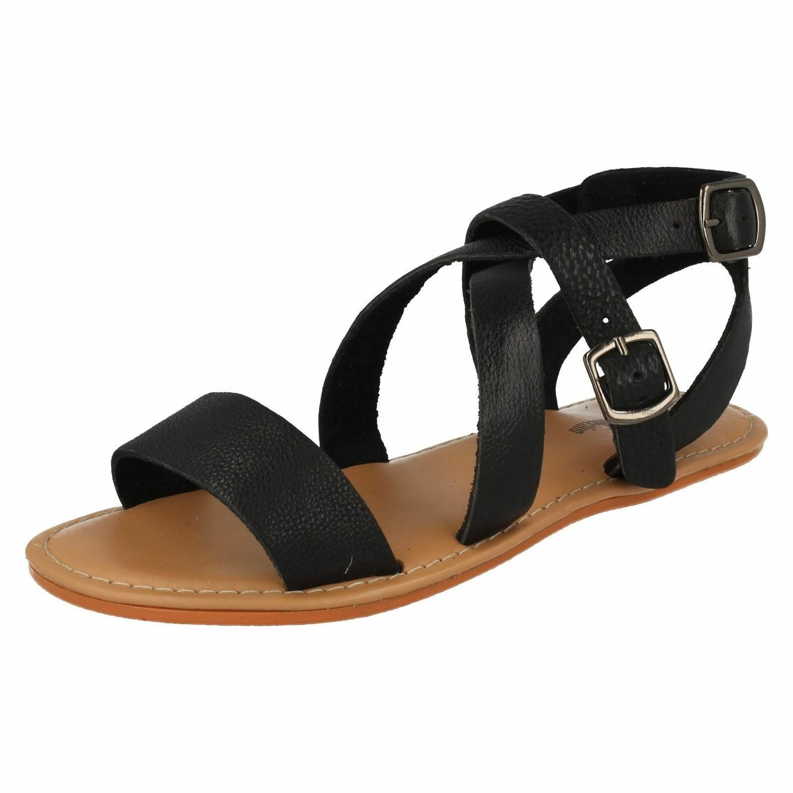 Leather Collection F0924 Ladies Buckle Black Leather Slingback Buckle Ladies Sandals c4af35