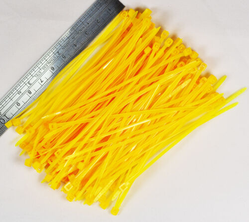 100pcs 10cm Nylon Plastic Zip Trim Wrap Cable Loop Ties Wire Self-Locking Yellow