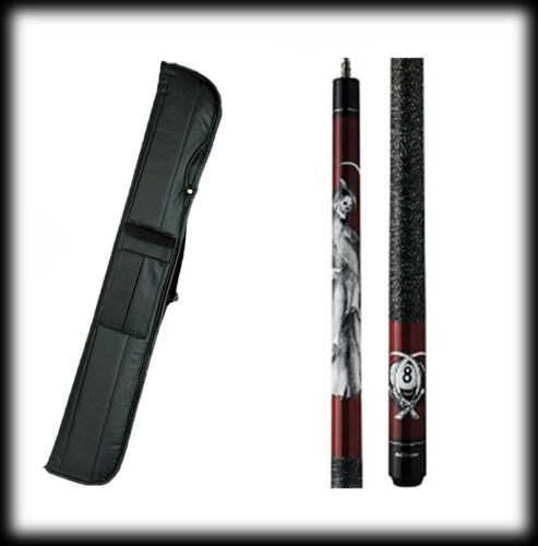 New Action ADV102 Pool Cue Stick Burgundy w//Grim Reaper  18-21 oz /& Case