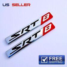 SRT8 Logo 3D Emblem Badge Sticker Decal Metal Chrome  EE05 - 2PCS
