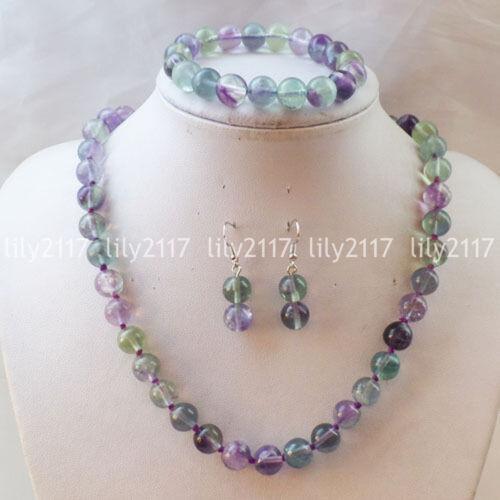 Fashion 10 Mm Naturel Multicolore Fluorite Perles Gem Collier Bracelet Boucle D/'Oreille Set