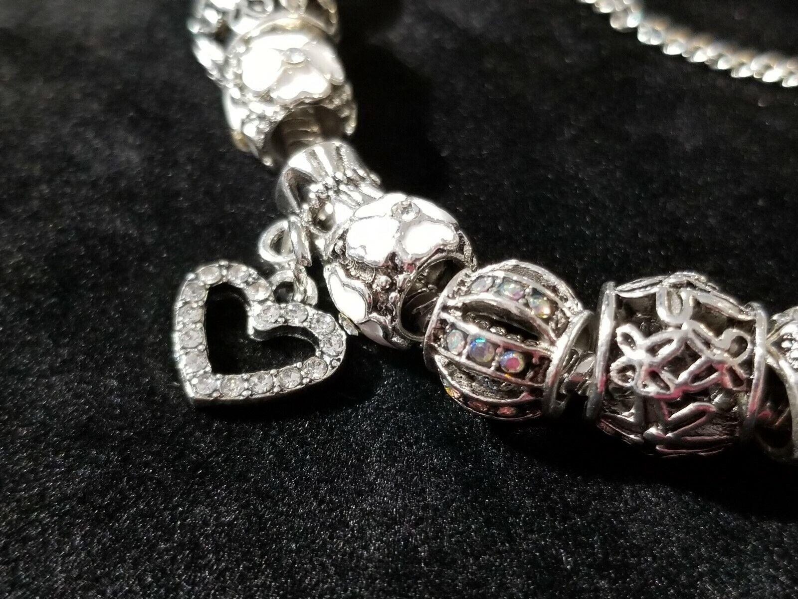 Women's 18K Charm Bracelet with Swarovski  Elements- White gold Plated No. 7957