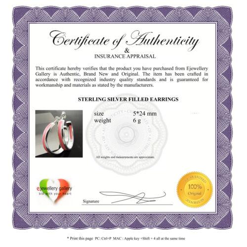 EARRINGS GENUINE REAL 925 STERLING SILVER S//F PINK ENAMEL STUD HOOPS DESIGN