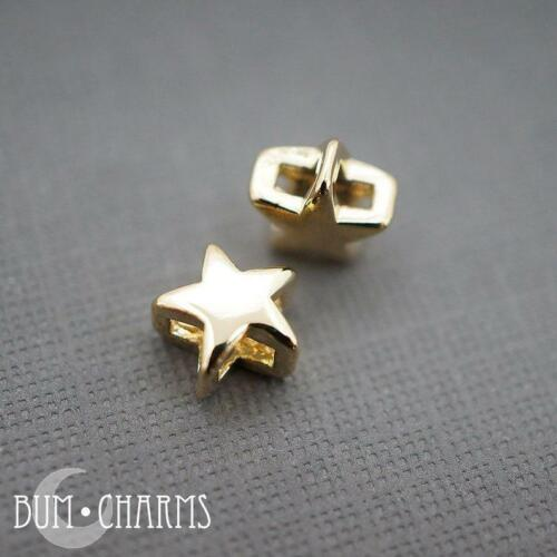 Metal Beads Simple Star Large Hole Beads Jewelry Making Findings 2 Pcs