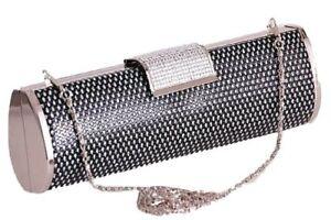 Bling-Black-Diamante-Diamond-Crystal-Evening-Hand-Bag-Clutch-Purse-Party-Prom