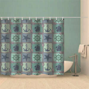Blue Bird Graffiti House 3D Shower Curtain Waterproof Fabric Bathroom Decoration