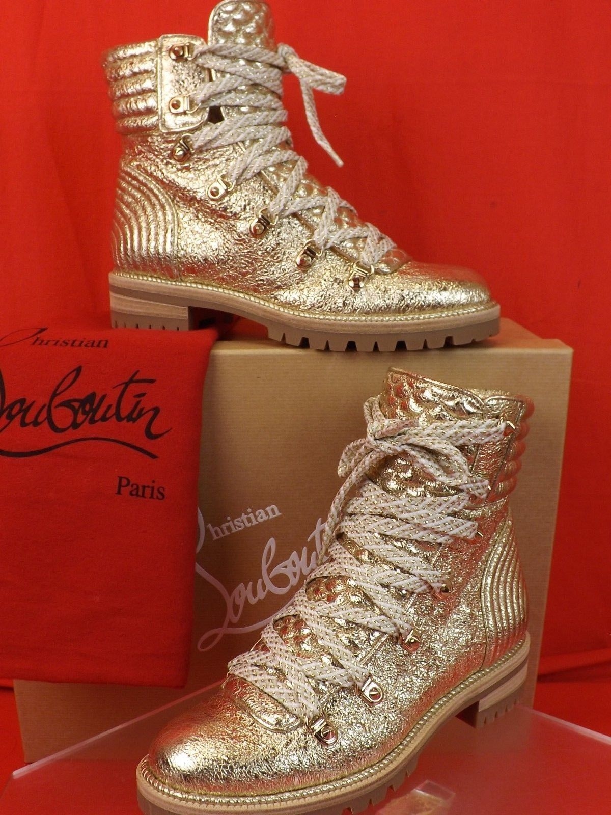 detailed look 98d9f a3813 Louboutin Mad Boot Vintage Platinum Leather Studded Ankle Combat BOOTS 36