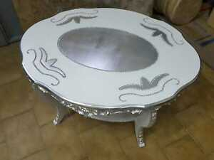 Tavolini Da Salotto Ovali In Legno.Dettagli Su Tavolino Da Salotto Ovale In Legno Bianco E Argento Con Strass