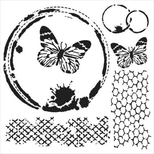 "Pochoir décor /""Mini Butterfly Collage/"" 6/""X6/"" TCW 15X15cm"