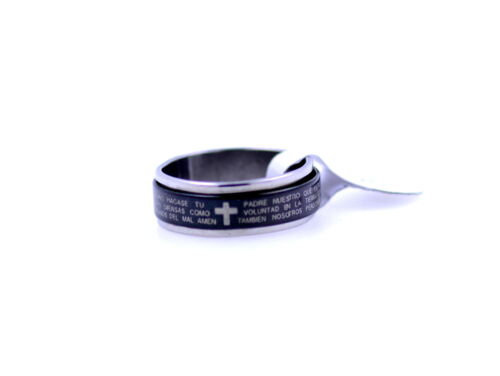 2 Layers silver black Cross Lord/'s prayer stainless steel ring 4 sizes