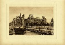 Antique Etching-CITY HALL-HOTEL DE VILLE-SINE-BRIDGE-Fonce-1889